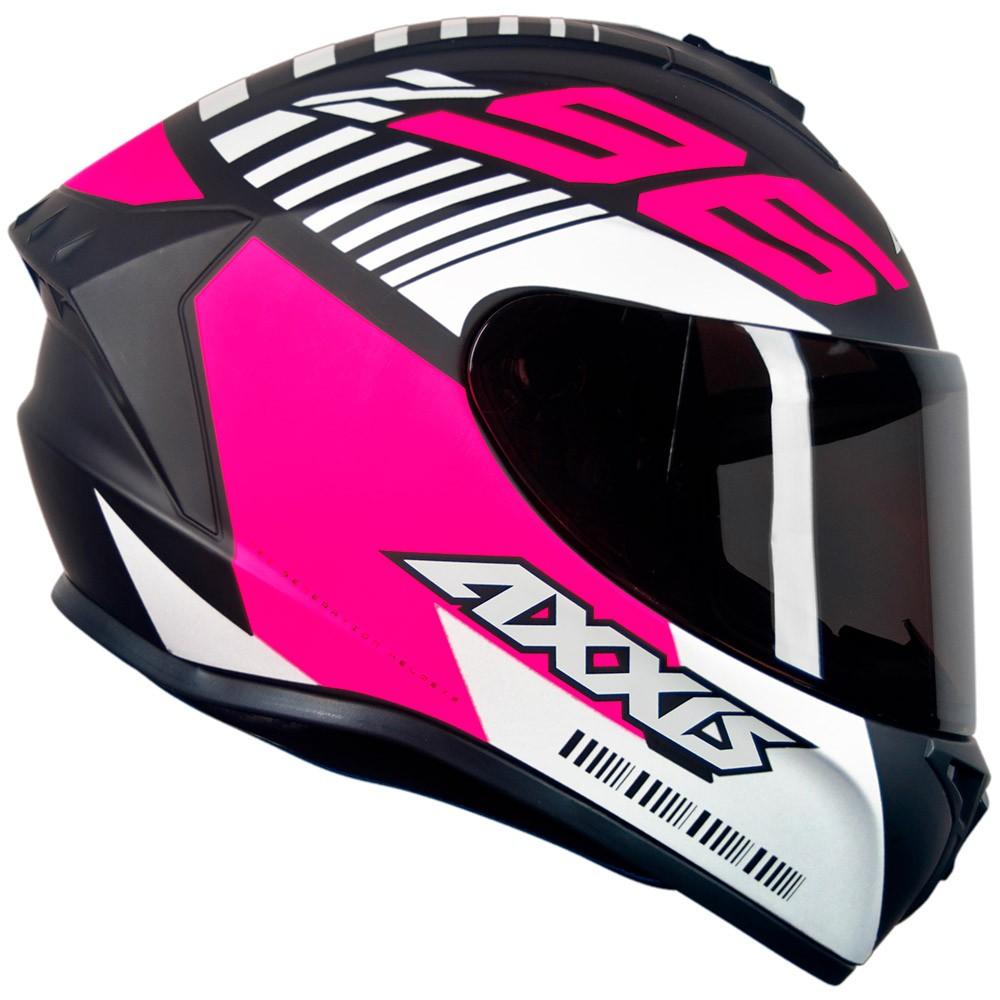 Capacete Axxis Draken Z96 Preto Fosco/Rosa/Cinza