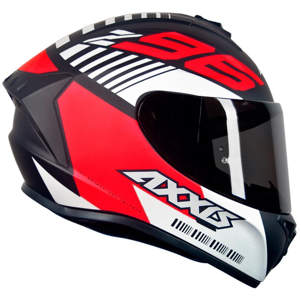 Capacete Axxis Draken Z96 Branco/Preto/Vermelho Fosco