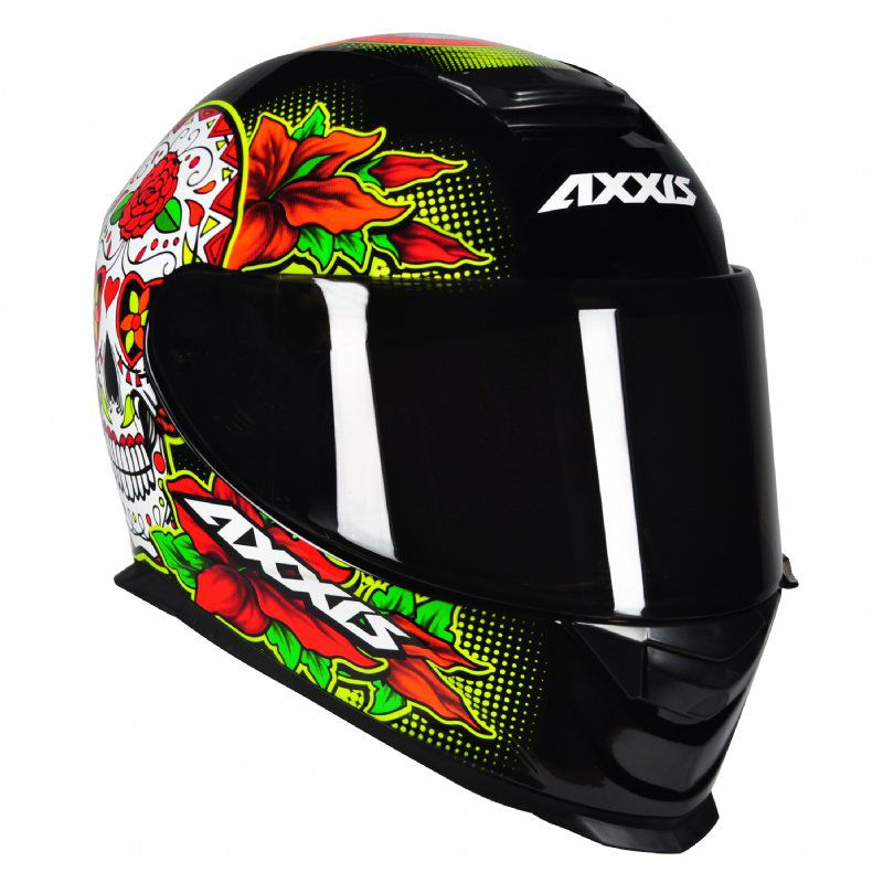 CAPACETE - AXXIS EAGLE SKULL BLACK-YELLOW