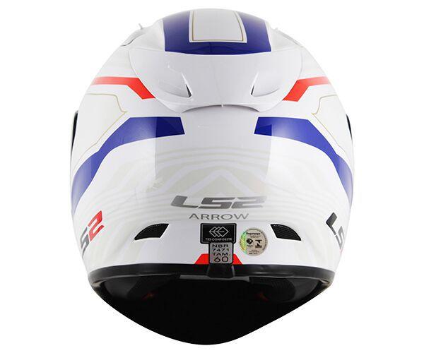 Capacete LS2 FF323 Arrow R Burner Branco/Azul - Tricomposto