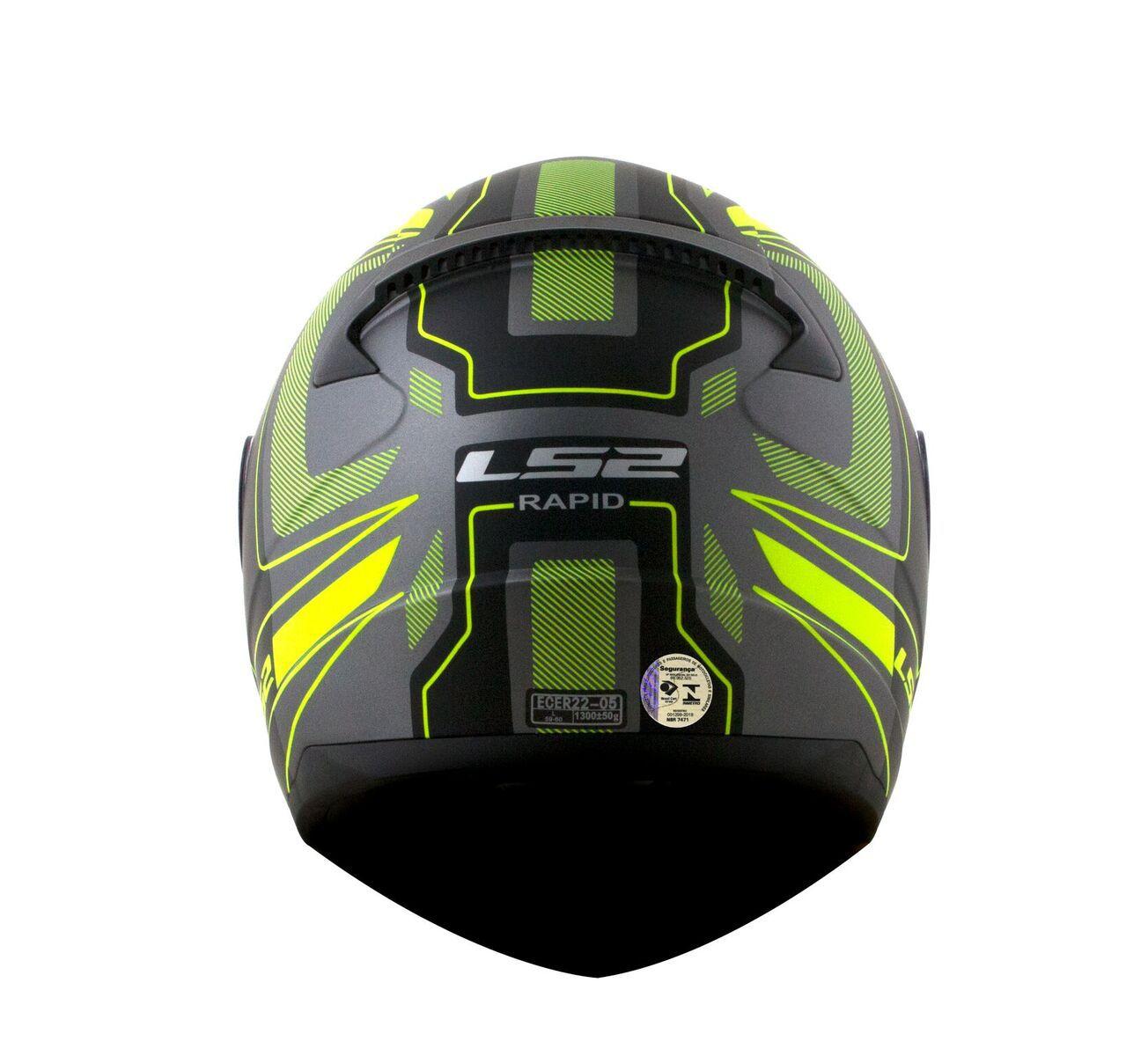 Capacete LS2 FF353 Rapid Carrera Preto e Amarelo Fluo Fosco