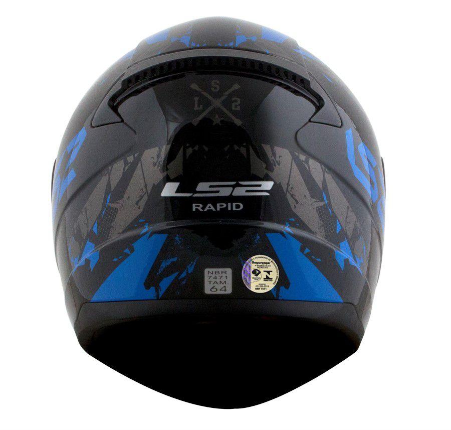 Capacete LS2 FF353 Rapid PALIMNESIS Preto e Azul