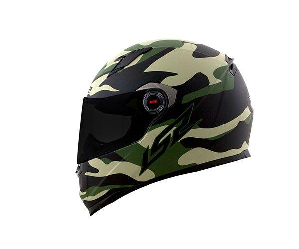 CAPACETE LS2 FF358 ARMY PRETO FOSCO/VERDE MILITAR