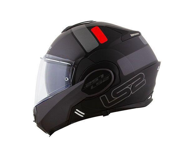 Capacete Ls2 FF399 Valiant Prox Preto Titanio/Vermelho/Fosco Articulado