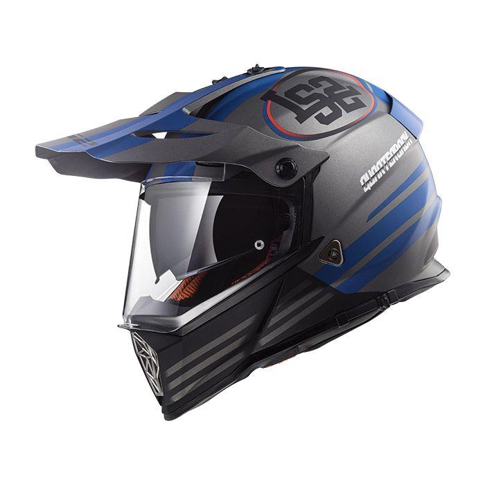 Capacete LS2 MX436 Pioneer Quarterback Cinza Azul Com Viseira Solar
