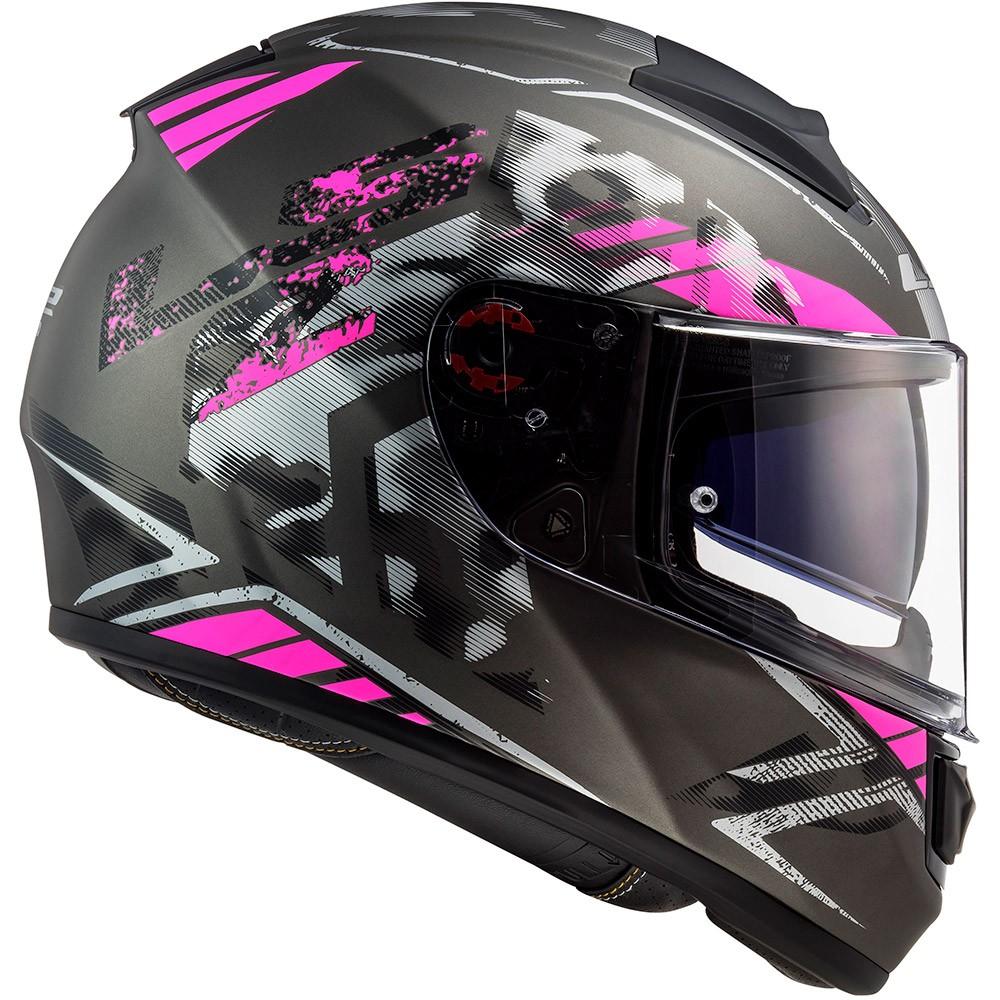 Capacete LS2 FF397 Vector Evo Stencil Preto Fosco/Pink