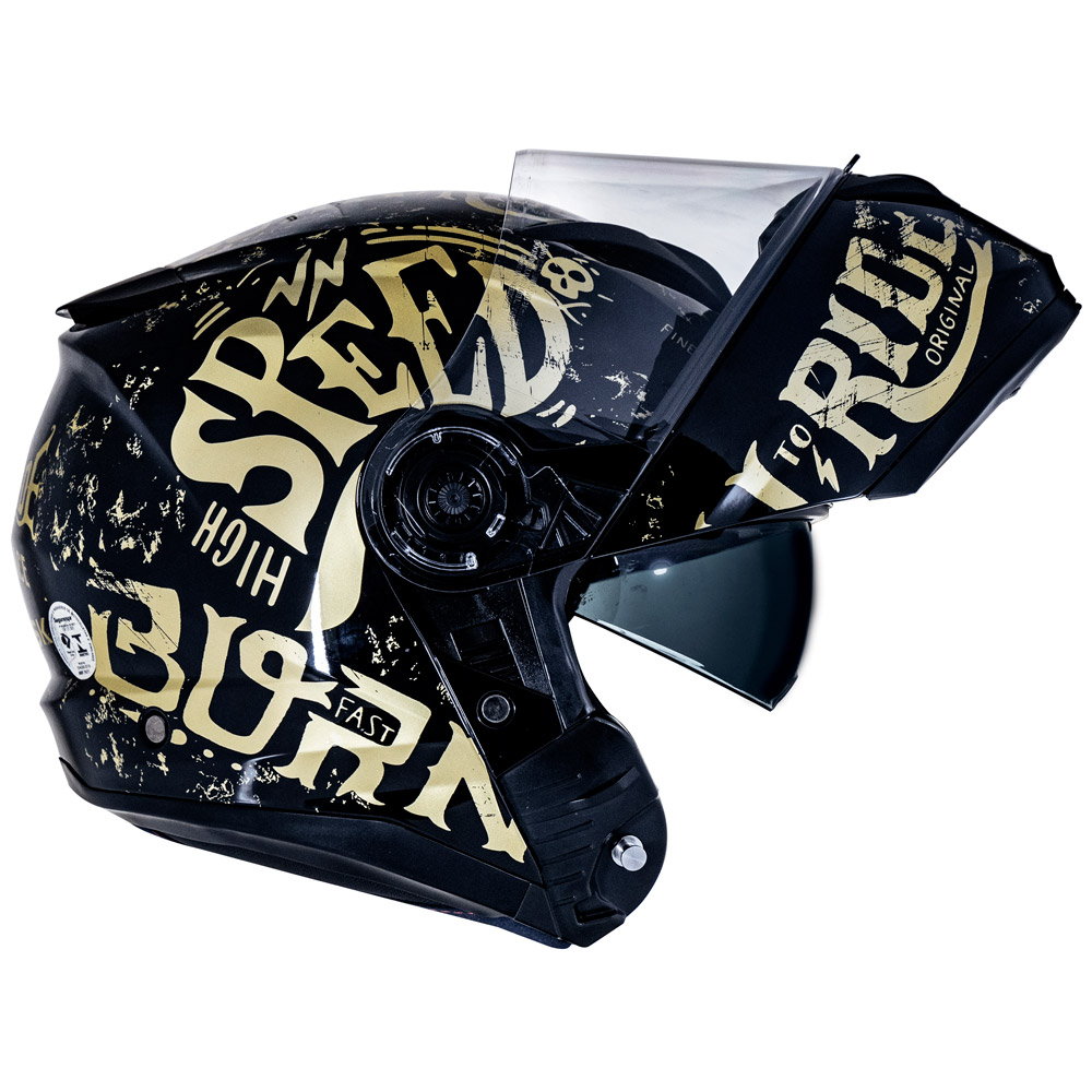 CAPACETE NORISK FORCE BORN TO RIDE GOLD