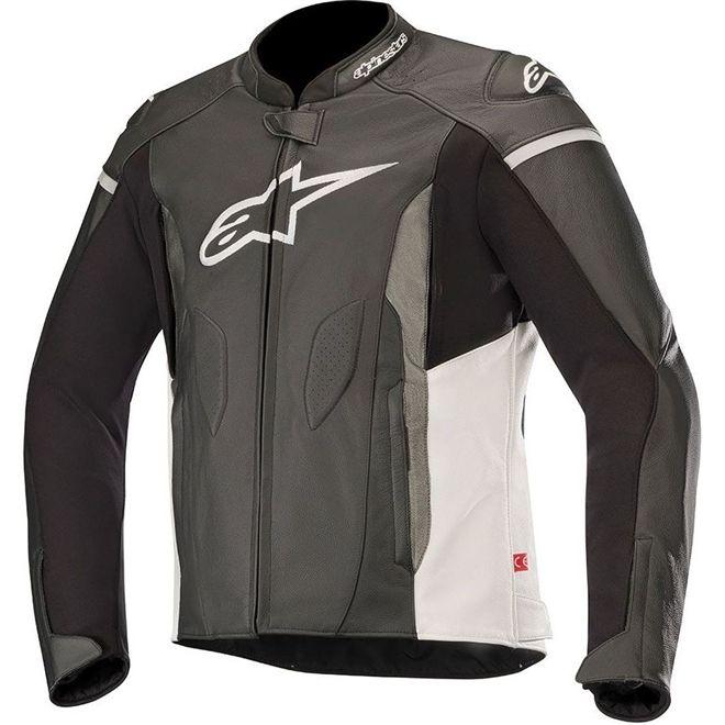 Jaqueta Alpinestars Faster Leather Preta/Branca Couro