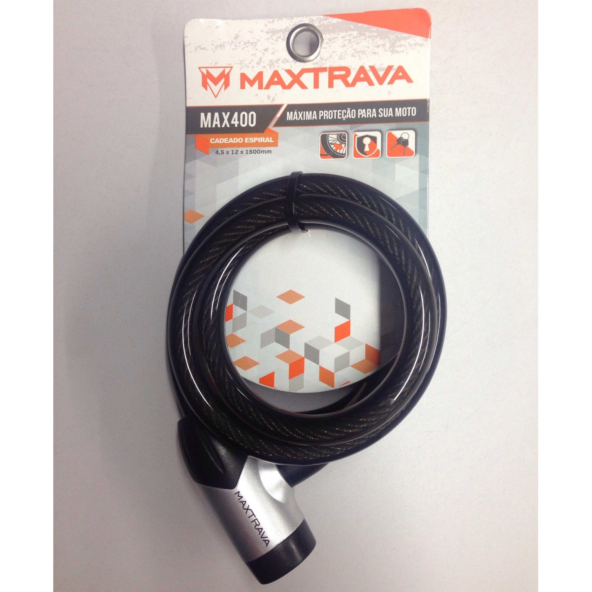 Trava Anti Furto Maxtrava Cadeado Espiral Max 400 12x1500mm