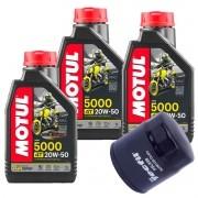 Kit 3 litros Óleo Motor 4t Motul 5000 20w50 Semi-sintético + Filtro Óleo FRAM PH6018