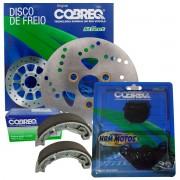 Kit Disco De Freio Dianteira Burgman 125i Cobreq + Lona e Pastilhas Cobreq