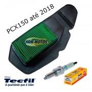 Kit Filtro De Ar Tecfil e Vela Ngk Para Honda Pcx 150 até 2018