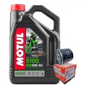 Kit Filtro De Óleo Ducati 796/1200/848/821 E 4 Lts Motul 5100 15w50 Semi-sintético