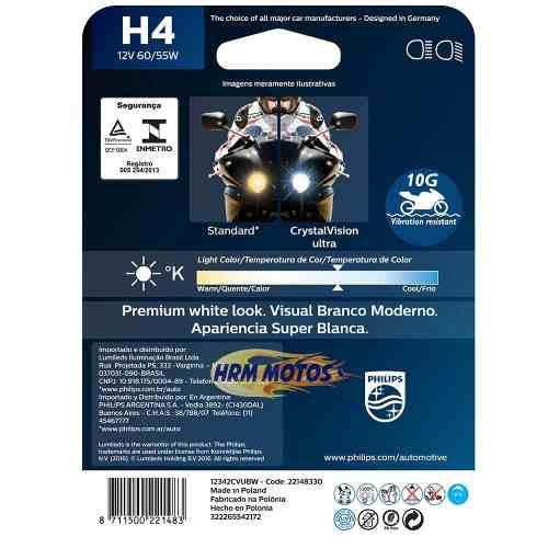 Lâmpada Philips Crystal Vision H4 60/55W Super Branca