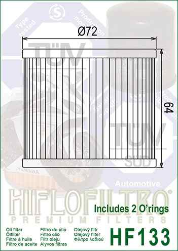 Filtro De Óleo Suzuki Gs 500 Hiflofiltro Hf133 c/Anel Vedação