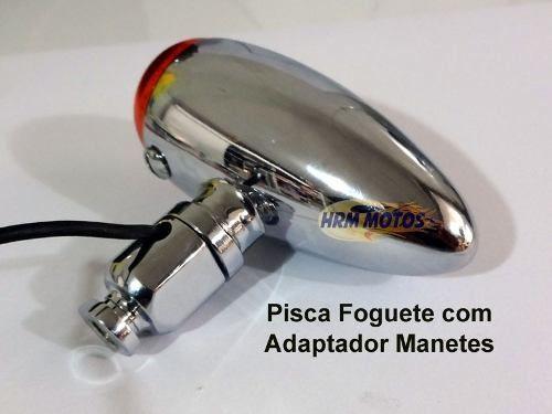 Pisca Foguete/Bullet para Custom - Preto Fosco (2 Pares) + Adaptador para manetes