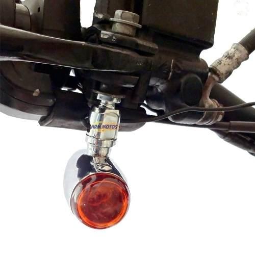 Pisca Foguete/Bullet para Custom - Cromado (2 Pares) + Adaptador para manetes