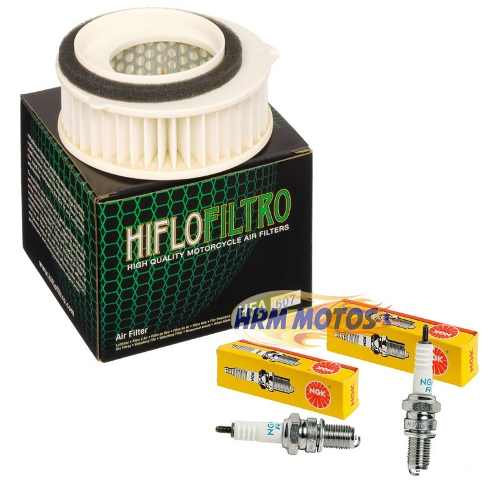 Kit Filtro De Ar Para Yamaha Drag Star 650 Hiflofiltro + 2 Velas Ngk DPR7EA-9