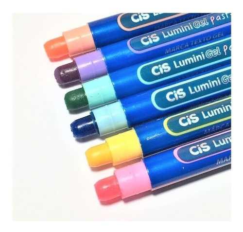 Caneta Marca Texto Cis Lumini Gel Pastel Estojo C/6 Unidades