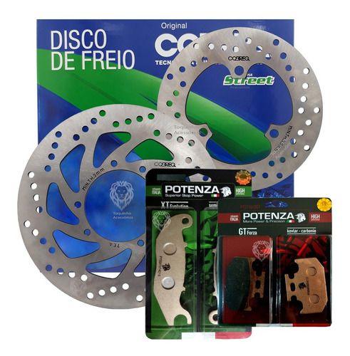 Kit Disco Freio D/t Lander / Tenere 250 2016-2020 + Jg Pastilha D/t Potenza