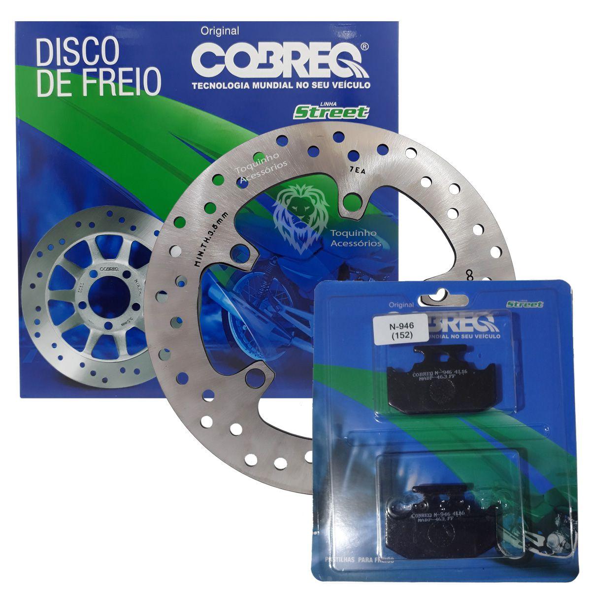 Disco Freio Traseiro Fazer 250 Yamaha Até 2017 Cobreq + Pastilha traseira Cobreq