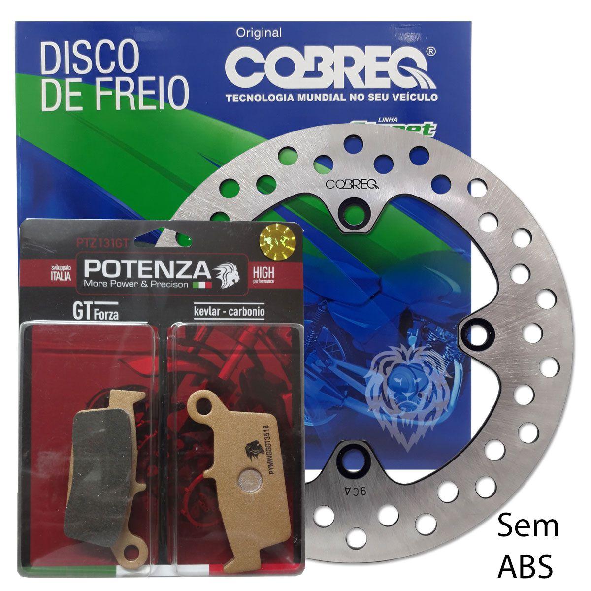 Kit Disco Freio Traseiro Xre 300 Cobreq + Pastilha Potenza Traseira sem ABS