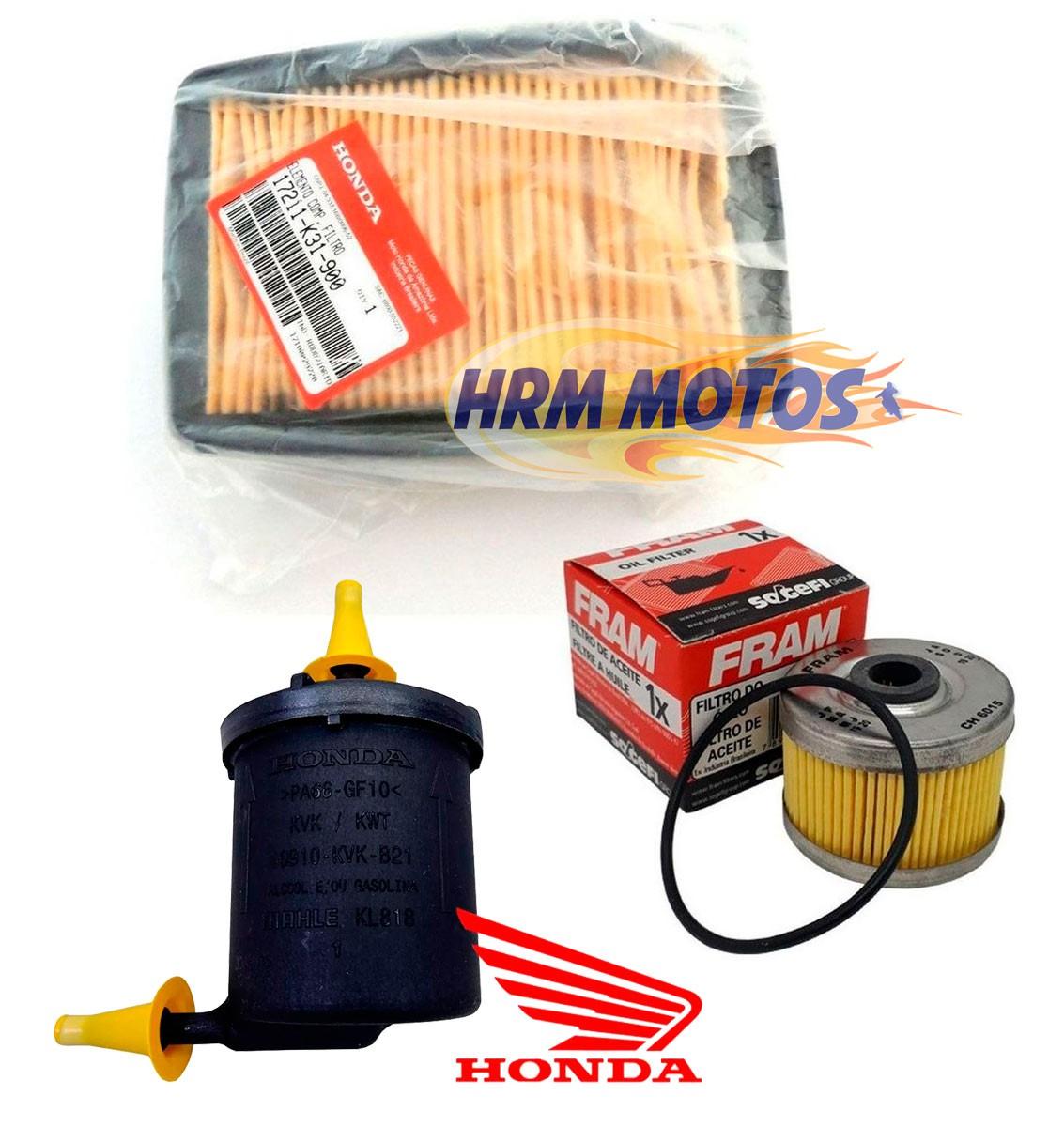 Filtro De Ar e Combustível Cb 250f 2016 À 2019 Honda + Filtro De Óleo Fram