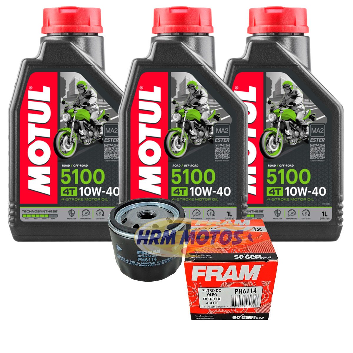 Kit 3 Lts Óleo Motor Motul 5100 10w40 + Filtro Oleo Fram Ph6114 Moto Bmw F800 GS/F800R