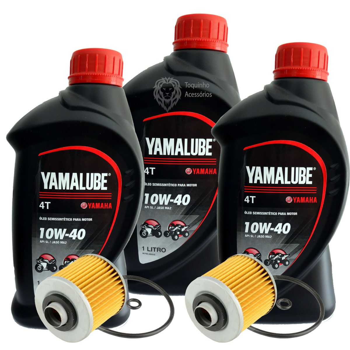 Kit 3 lts Óleo Yamalube 10w40 + 2 Filtros de óleo Yamaha Fazer/Lander/Tenere 250
