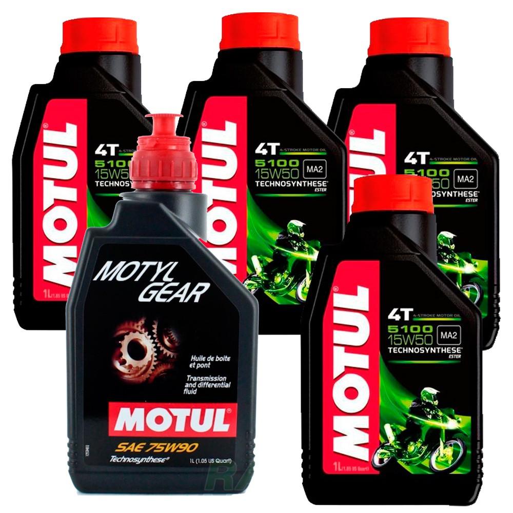 Kit Bmw R1200 GS 4 litros Motul 5100 15w50 + Motylgear 75w90