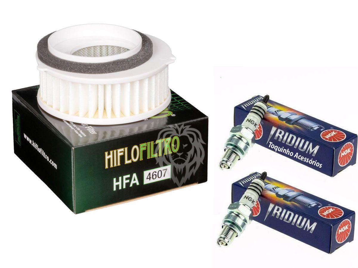 Kit Filtro Ar Yamaha Drag Star 650 + Par de Velas Iridium DPR7EAIX-9