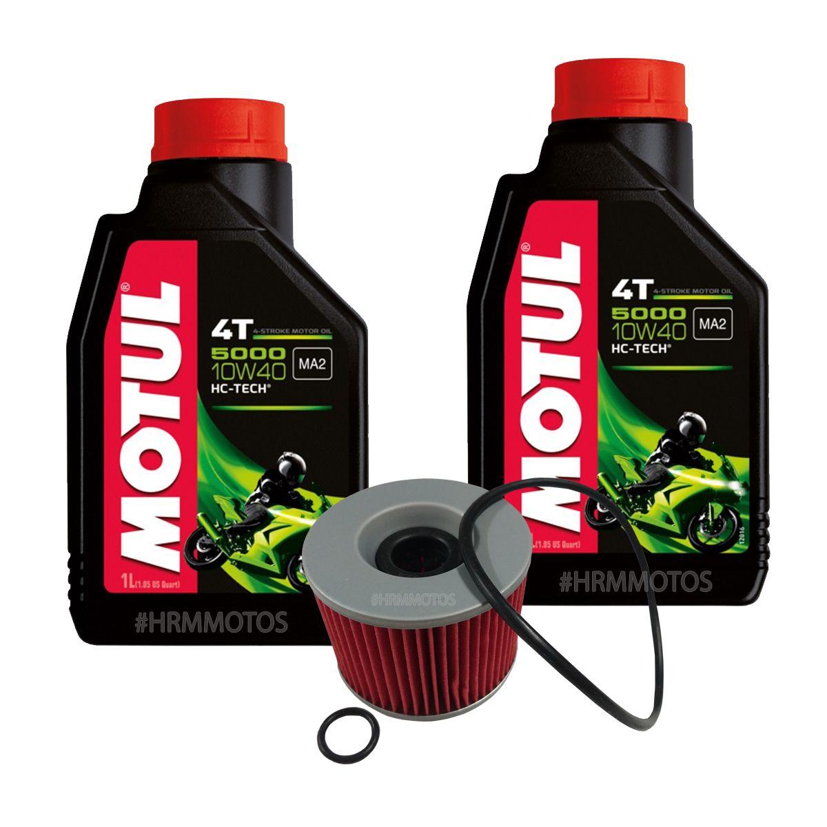 Kit Filtro de Óleo e 2 lts Motul 5000 10w40 Para Ninja 250R c/Anel Vedação