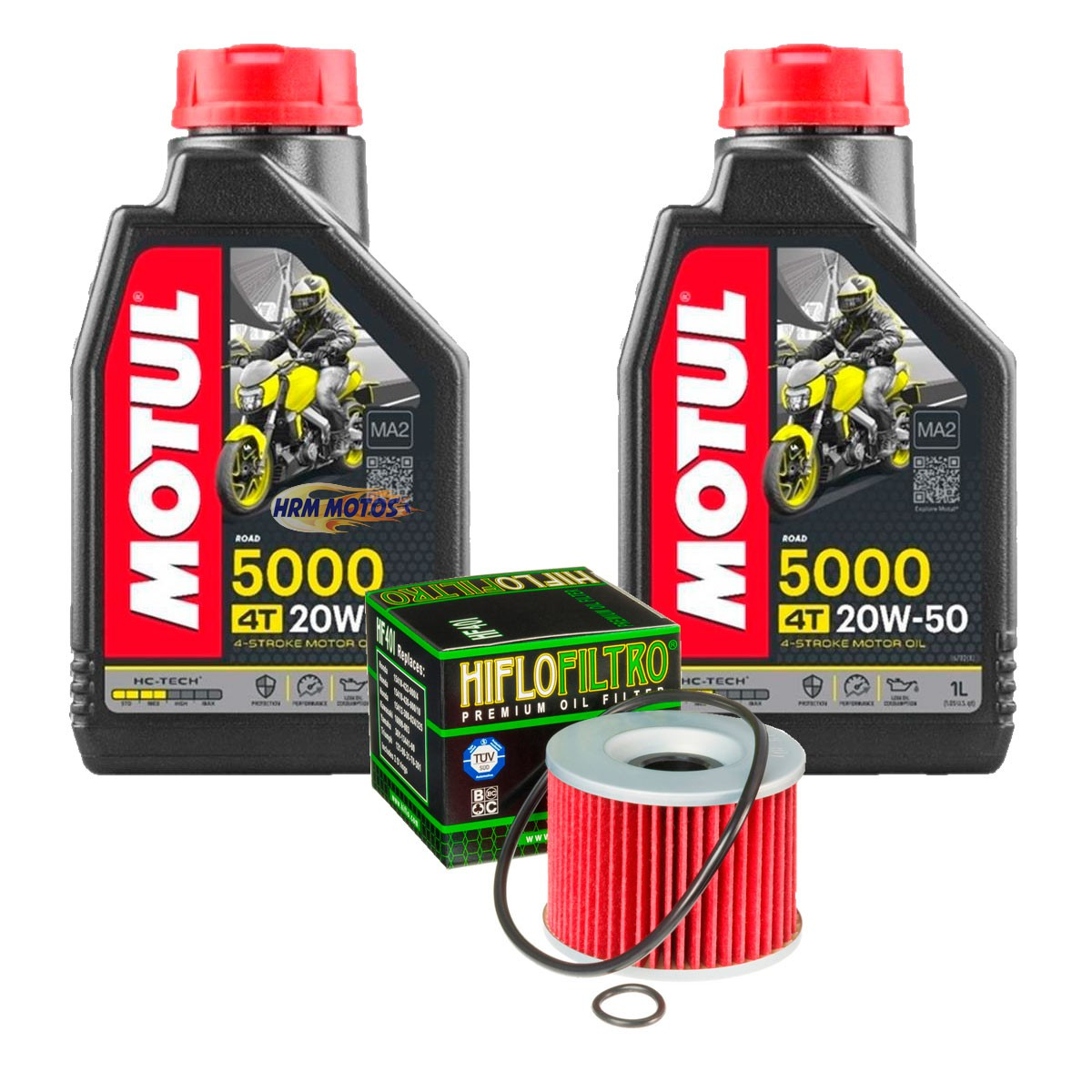 Kit Filtro de Óleo e 2 lts Motul 5000 20w50 Para Ninja 250R c/Anel Vedação