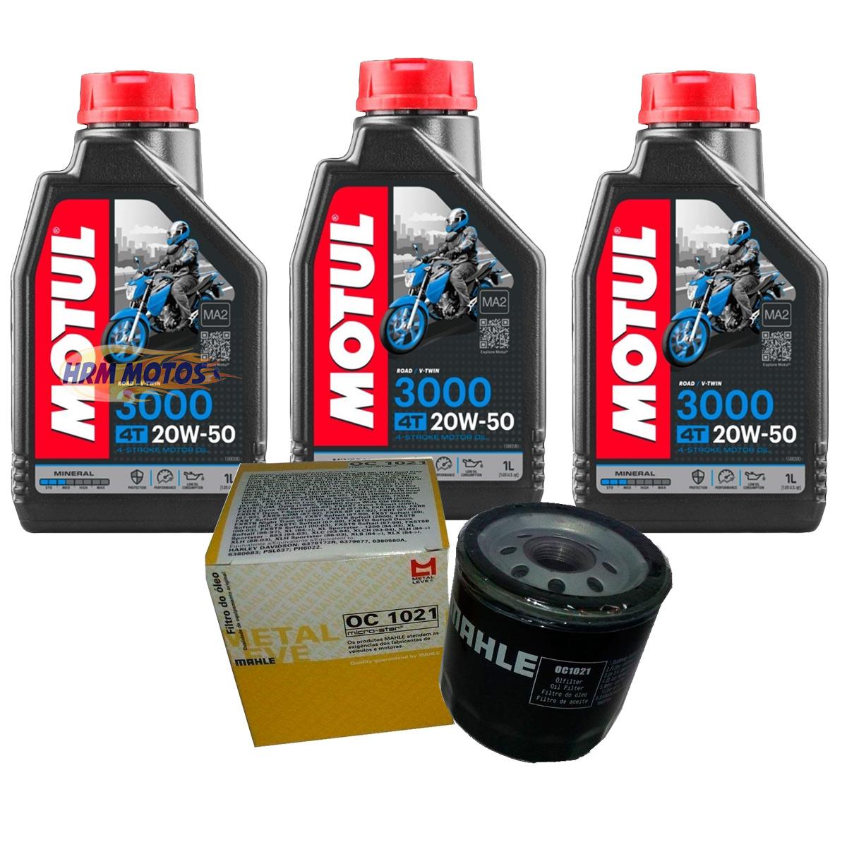 Kit Filtro De Óleo Harley 883/1200 E 3 Lts Motul 3000 20w50 OC1021-6022