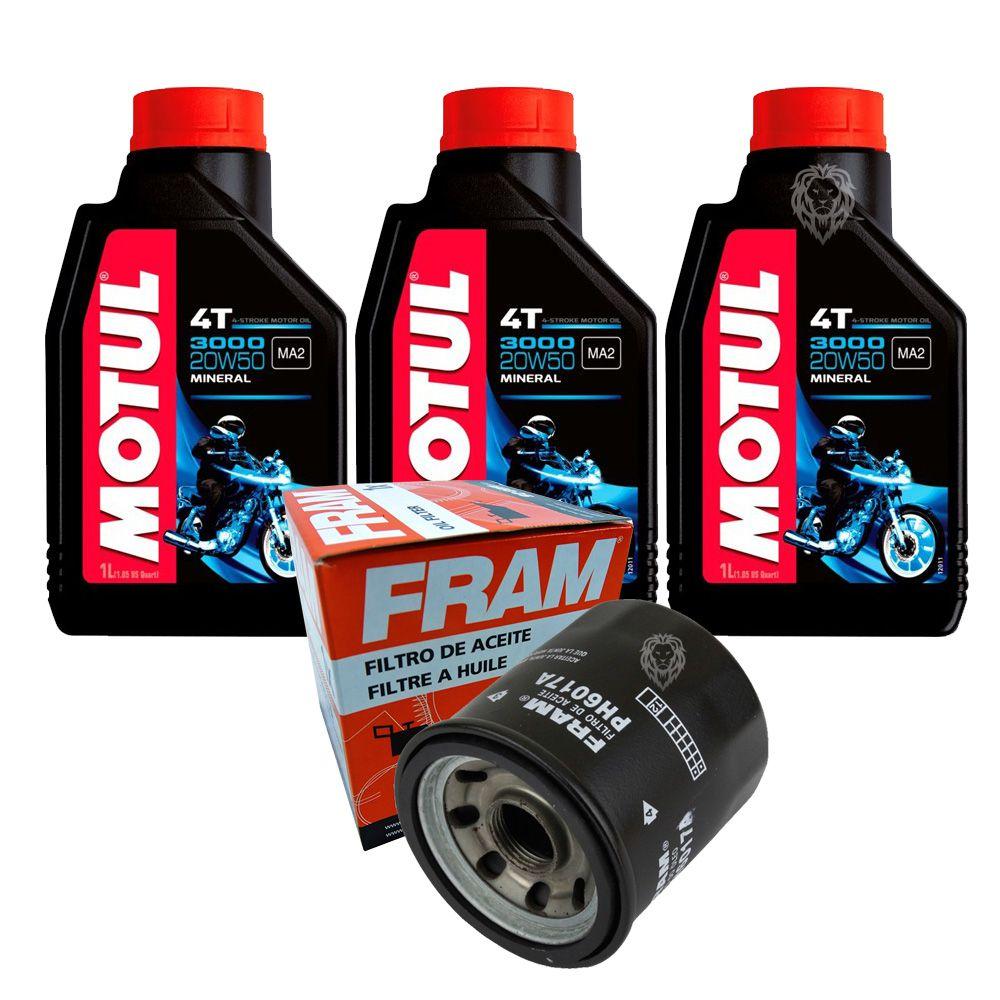 Kit Filtro De Óleo para Honda / Kawasaki / Yamaha E 3 litros de Óleo Motul 4T 3000 20w50