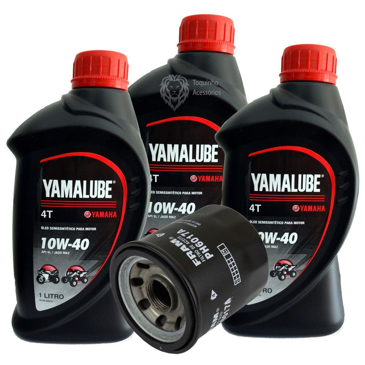 Kit Filtro De Óleo Yamaha Xj6/fz600 Fram e 3 Litros Yamalube 4T 10w40 Semi-sintético