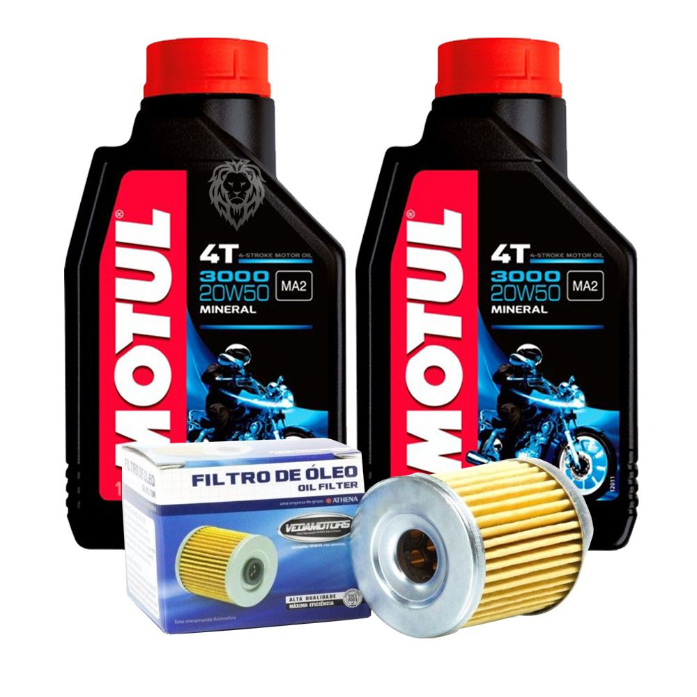 Kit Filtro Óleo Burgman 400 08-15 e 2 Litros de Óleo Motor Motul 5000 20w50