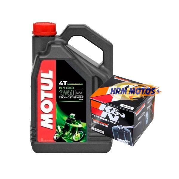 Kit Filtro Óleo K&N Bmw R1200 Gs até 2012 + 4 litros de Motul 5100 15w50