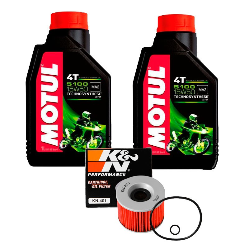 Kit Filtro Óleo K&n Kawasaki Ninja 250r +2 Litros de Óleo Motor 4T 5100 15W50 Semi-sintético