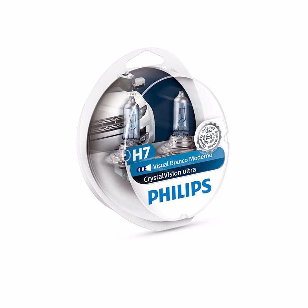 Kit Lâmpadas Philips Crystal Vision H7 55W 4300K (2 unidades) Super Branca