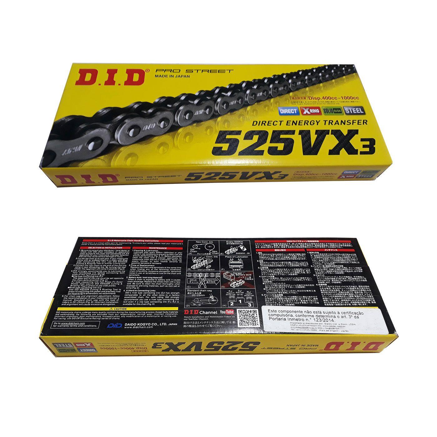 Kit Relação Corrente Coroa Pinhão Yamaha TDM 900 Sunstar e DID