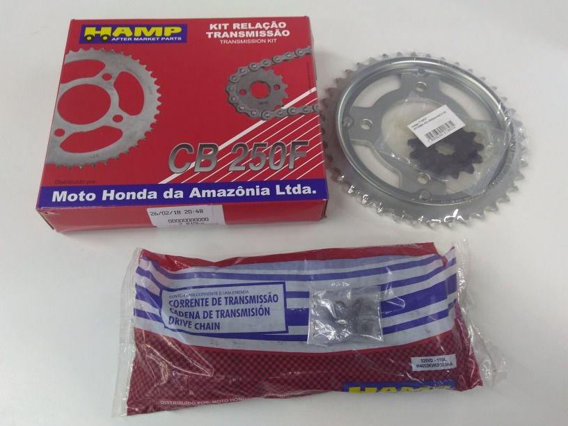 Kit Transmissão Corrente/Coroa e Pinhão CB 250F 2016 até 2020 Original/Honda/Hamp