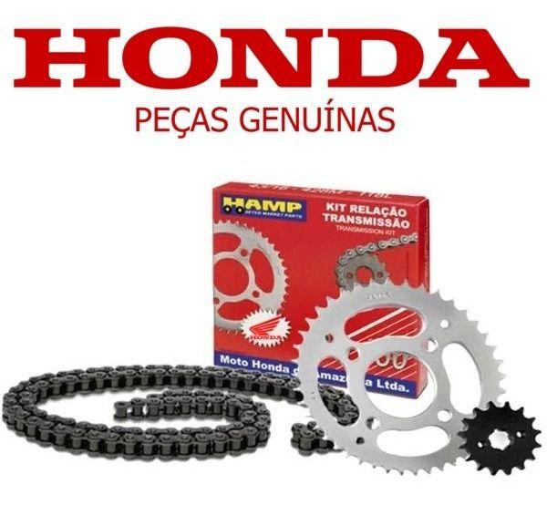 Kit Transmissão Corrente/Coroa e Pinhão NXR 160 Bros Original/Honda/Hamp