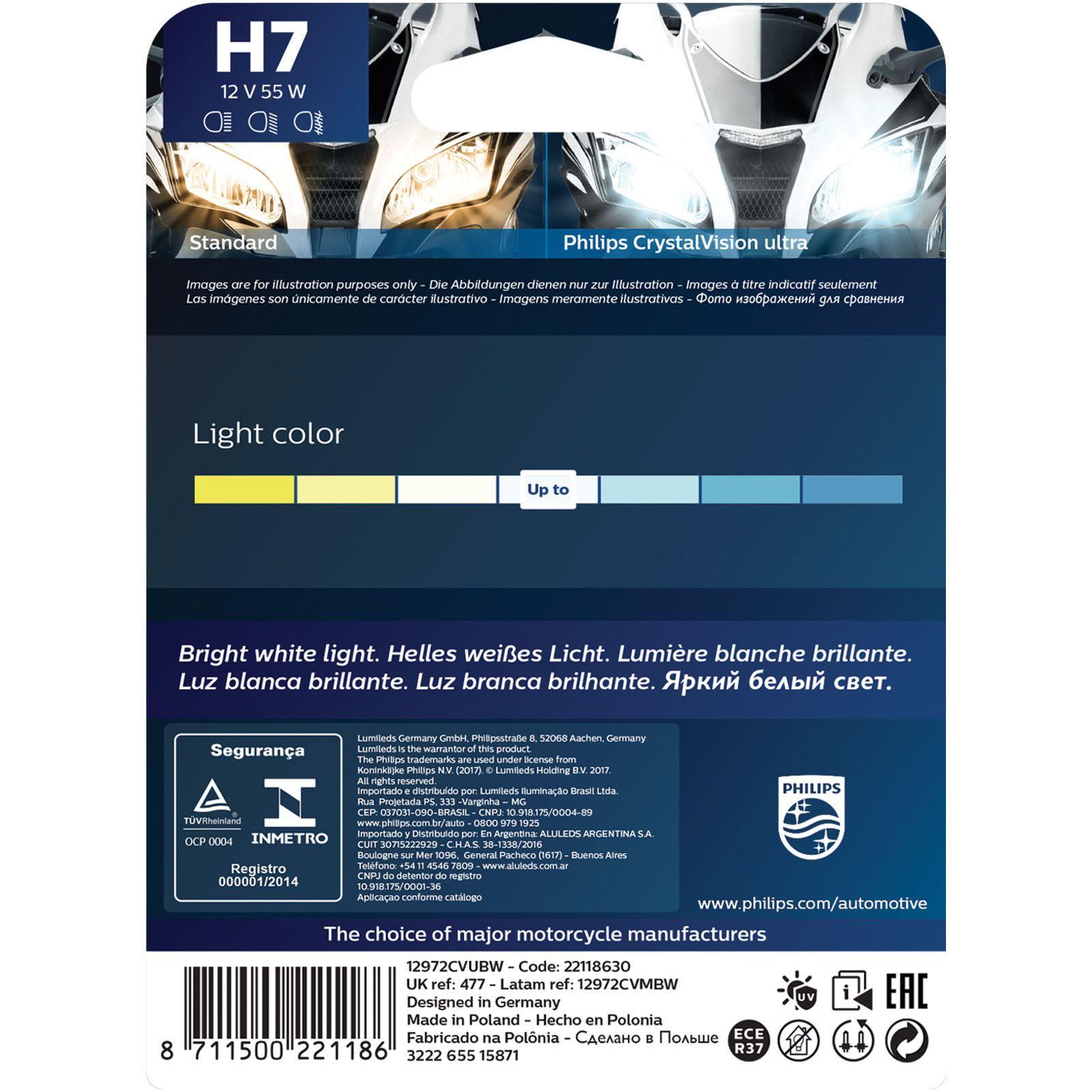Lâmpada Philips Crystal Vision H7 55W 4300K Super Branca