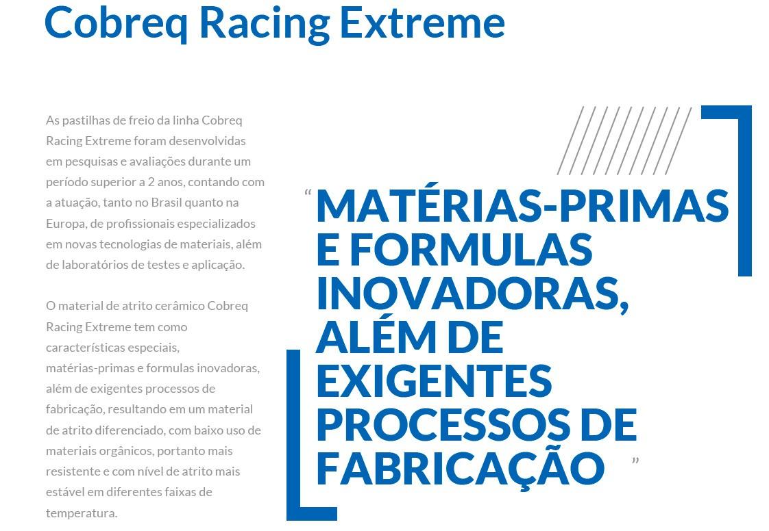 Pastilha Freio Cerâmica Dianteira GS 500/Boulevard 800/Vulcan 900 Cobreq Racing N-958C
