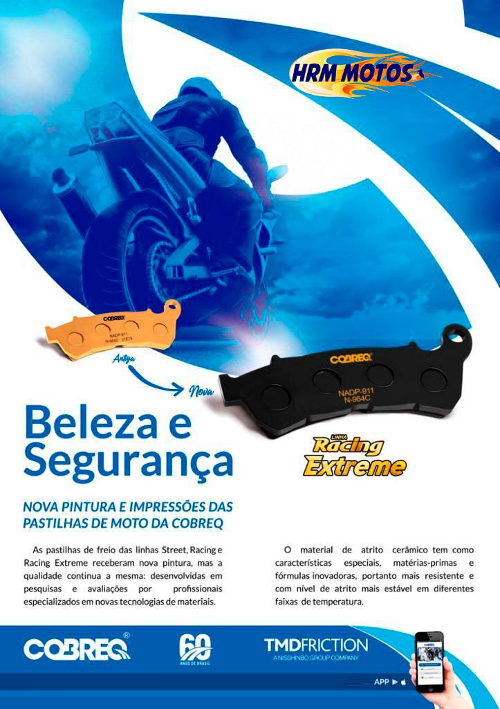 Pastilha Freio Cerâmica Midnight Star 950/XTZ 1200/TDM 900 Traseira Cobreq Racing Extreme