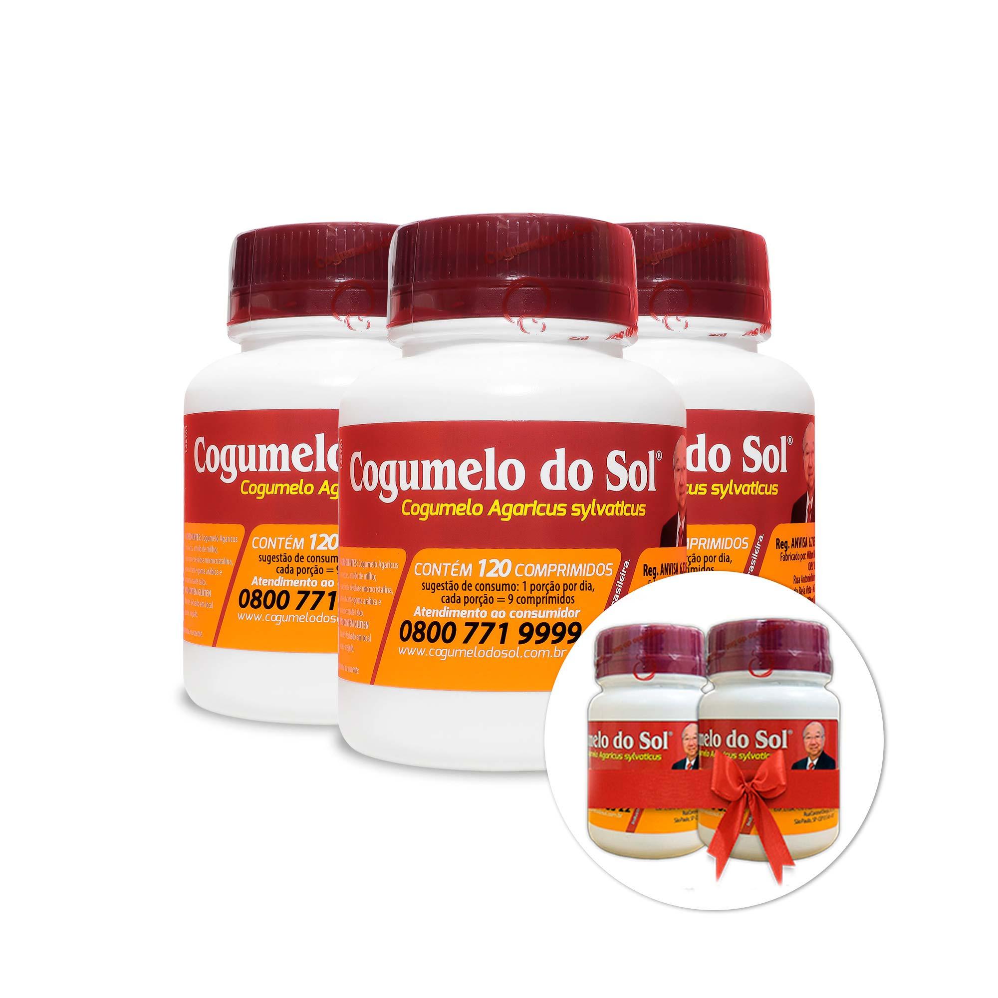 Cogumelo do Sol® - 03 Frascos com 120 Comprimidos - Ganhe + 02 frascos com 60 comprimidos