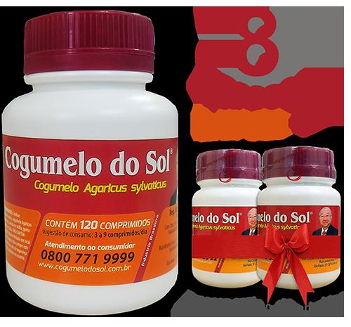 Cogumelo do Sol®  Agaricus sylvaticus - 08 FRASCOS - Ganhe 2 Frascos com 60 comprimidos