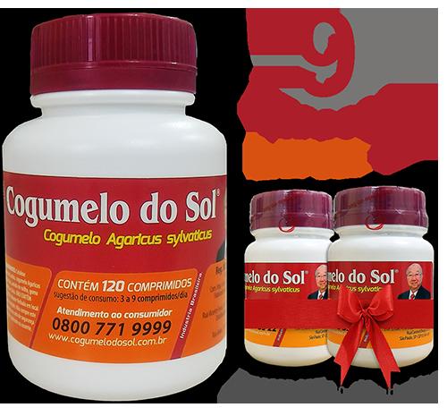 Cogumelo do Sol®  Agaricus sylvaticus - 09 FRASCOS - Ganhe 2 Frascos com 60 comprimidos