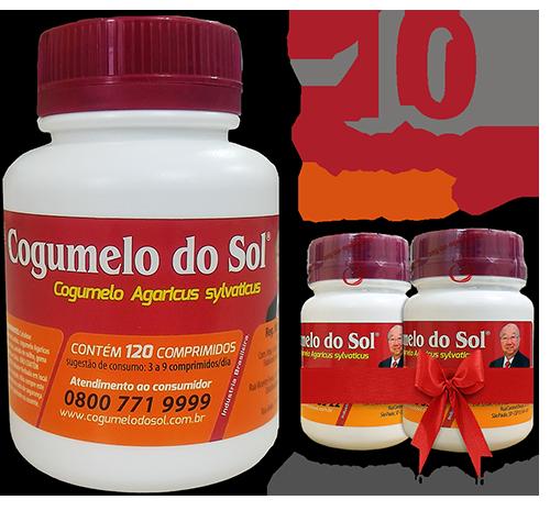 Cogumelo do Sol®  Agaricus sylvaticus - 10 FRASCOS  - Ganhe 2 Frascos com 60 comprimidos